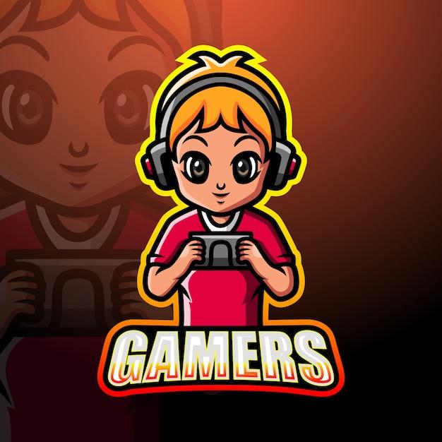 Illustrazione di esport della mascotte del ragazzo del giocatore Vettore Premium