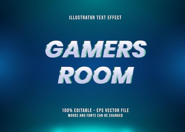 Effetto testo modificabile nella stanza dei giocatori con glitch Vettore Premium