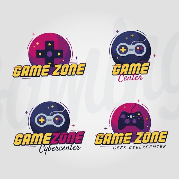 Collezione di logo di gioco con design piatto Vettore Premium