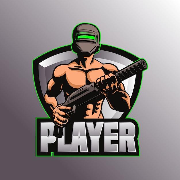 Gaming pubg logo mascotte illustrazione Vettore Premium