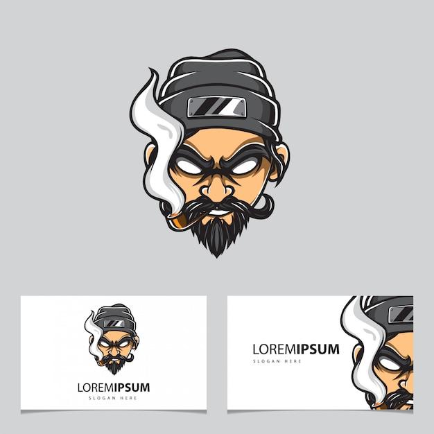 Logo vettoriale testa di gangster Vettore Premium