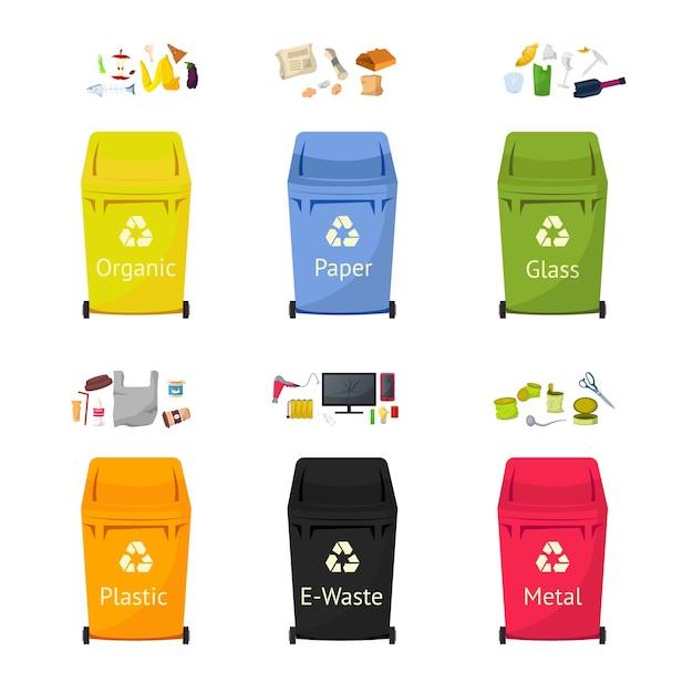 Set di illustrazioni piatte di bidoni per la raccolta dei rifiuti, pacchetto di clipart isolato di riciclaggio dei rifiuti su priorità bassa bianca. i cestini per plastica, vetro, materiali cartacei riutilizzano elementi di design dei cartoni animati Vettore Premium