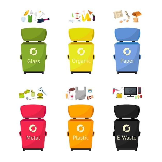Set di illustrazioni piatte di bidoni per la raccolta dei rifiuti Vettore Premium