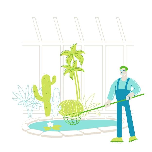 Giardiniere lavoratore o botanico scienziato personaggio cattura fiori di loto galleggianti Vettore Premium