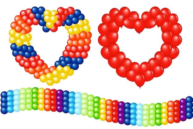 Ghirlande di palloncini (a forma di cuore e strisce), su bianco Vettore Premium