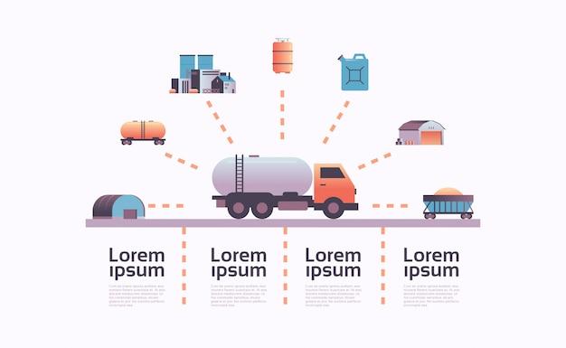 Estrazione del modello di infografica icona camion cisterna di gas o petrolio Vettore Premium