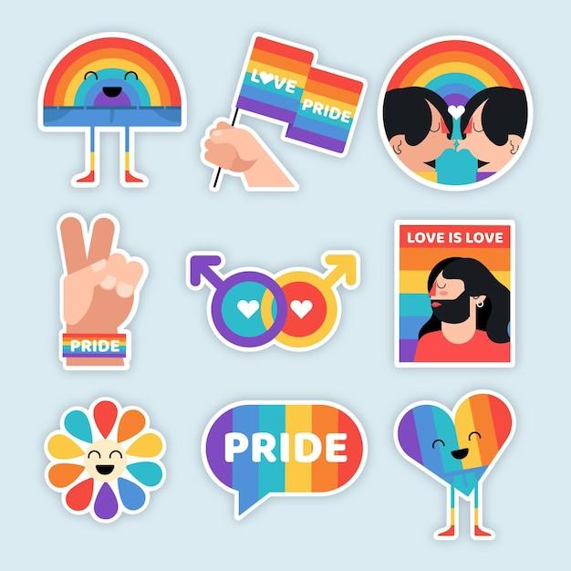 Collezione di etichette del giorno dell'orgoglio gay Vettore Premium