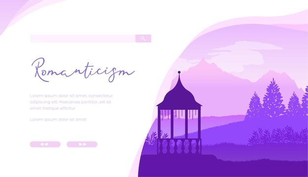 Fondo minimalista del paesaggio della siluetta del gazebo. home page del sito web del negozio online di mobili da giardino. Vettore Premium