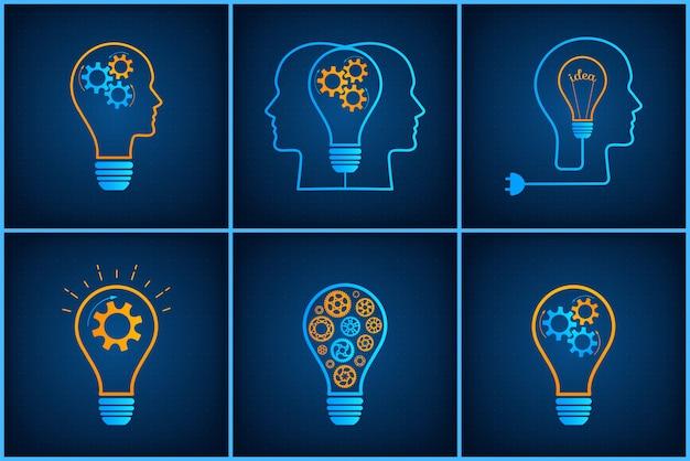 Insieme creativo di concetto di lavoro di squadra della lampadina della testa dell'ingranaggio Vettore Premium
