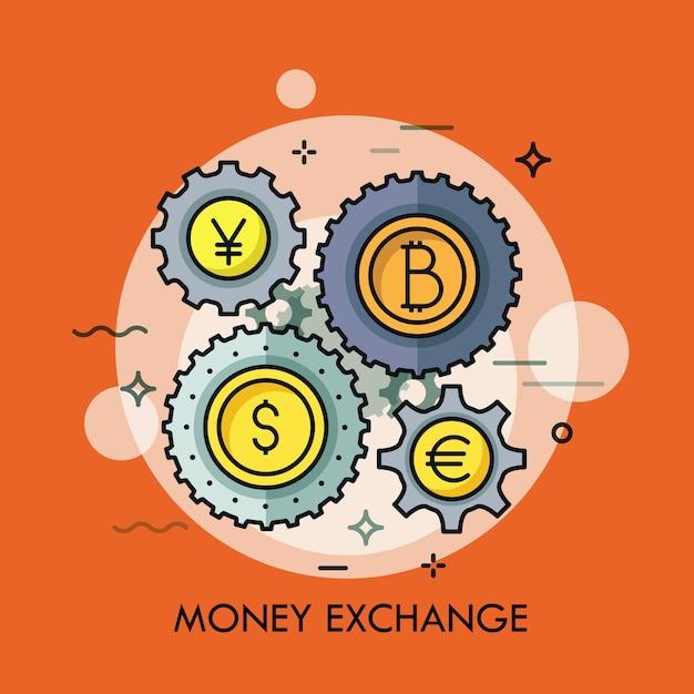 Ruote dentate con monete di diverse valute al centro. Vettore Premium