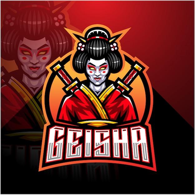 Modello di logo della mascotte di geisha esport Vettore Premium