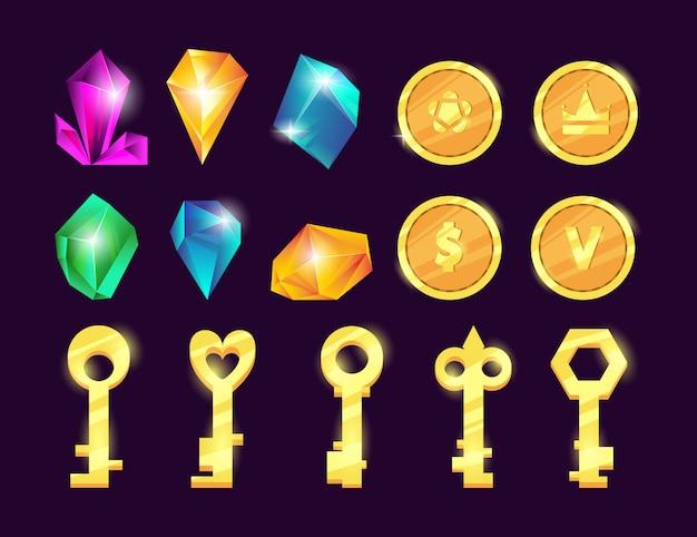 Set di gemme e monete. Vettore Premium