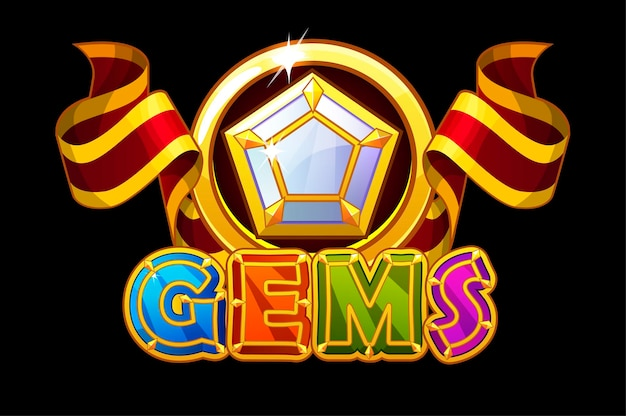 Gemme logo e icone pietre jewerl con nastro rosso. iscrizione luminosa e gemma pentagonale. Vettore Premium