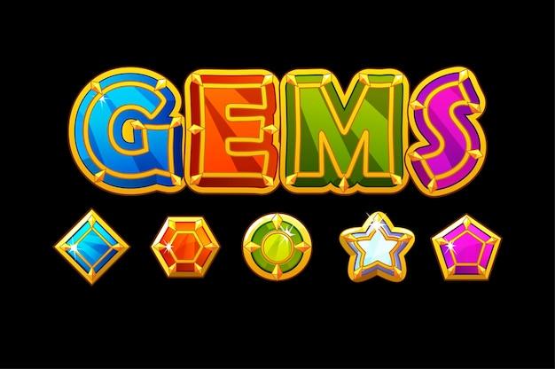 Gemme logo e icone jewerls pietre forme diverse. set di gemme lucide luminose. Vettore Premium