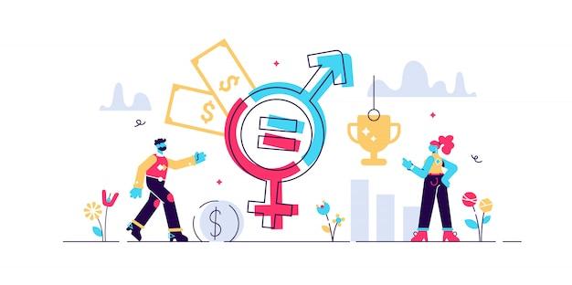 Illustrazione di uguaglianza di genere. Vettore Premium