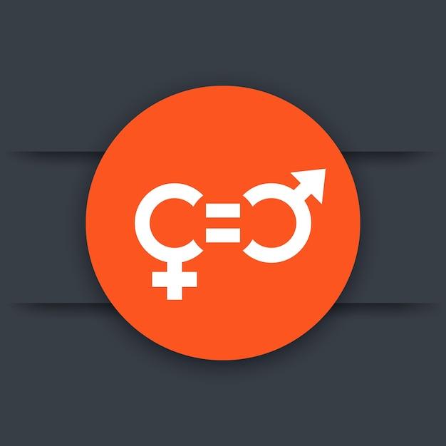 Icona di equità di genere, pittogramma rotondo Vettore Premium