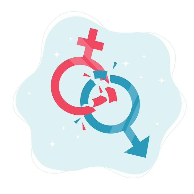 Concetto di norme di genere. simboli di genere che si rompono in pezzi. Vettore Premium