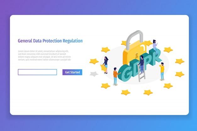 Regolamento generale sulla protezione dei dati - concetto isometrico gdpr. illustrazione vettoriale Vettore Premium