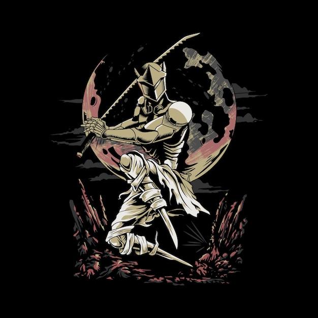 Genji che combatta nella notte Vettore Premium