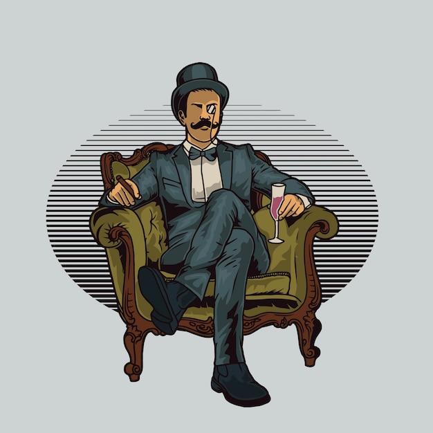 Il signore si siede sulla sedia con in mano un drink Vettore Premium