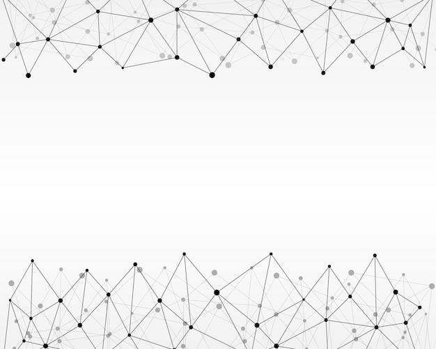 Fondo astratto geometrico con linea e punti collegati. Vettore Premium