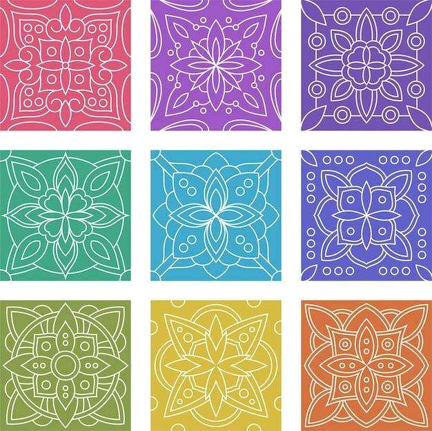 Insieme di raccolta del reticolo senza giunte delle mattonelle geometriche del batik Vettore Premium