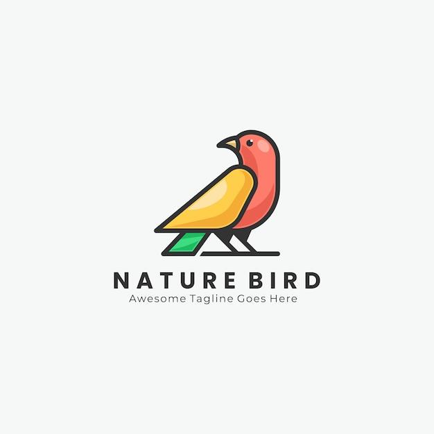 Logo geometrico bird Vettore Premium