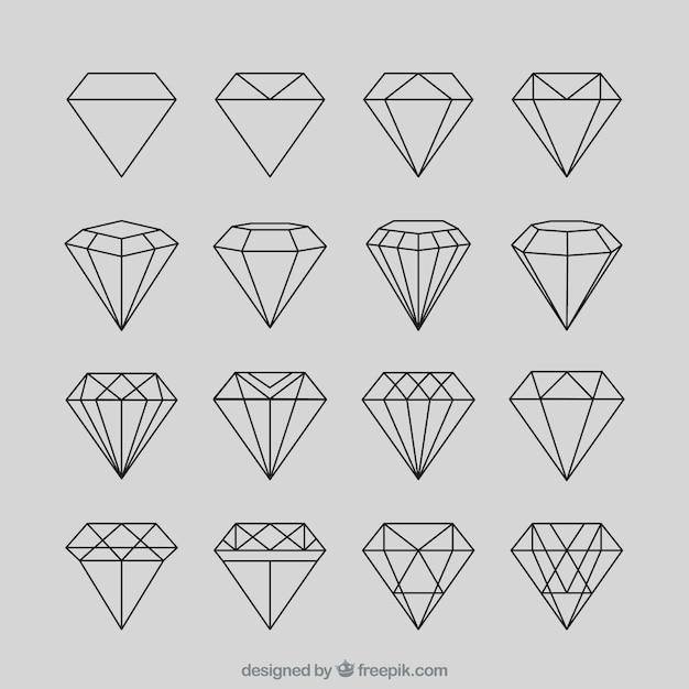 Set di diamante geometrica Vettore Premium