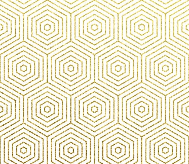 Fondo geometrico astratto del modello dell'oro Vettore Premium