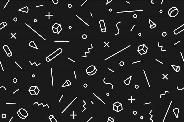Motivo geometrico di memphis. stili alla moda modello grafico senza soluzione di continuità Vettore Premium