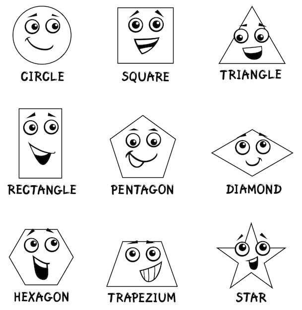 Libro da colorare forme geometriche Vettore Premium