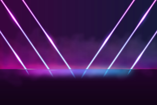 Sfondo di luci al neon di forme geometriche Vettore Premium