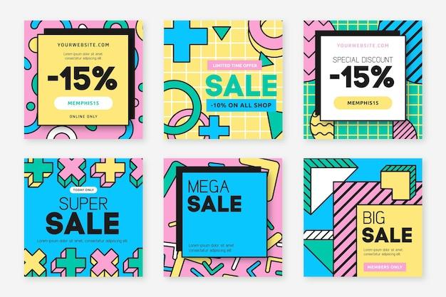 Post di instagram di vendite di forme geometriche Vettore Premium