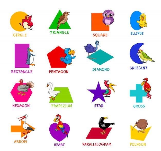 Forme geometriche con personaggi animali degli uccelli Vettore Premium