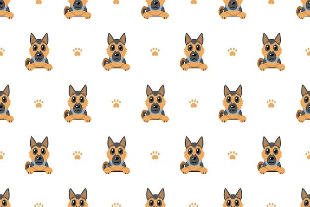Fondo senza cuciture del modello del cane da pastore tedesco Vettore Premium