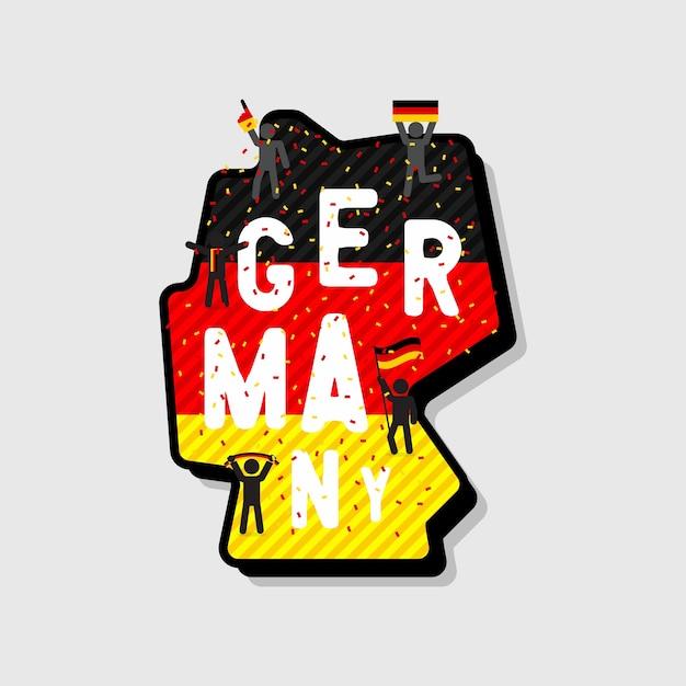 Germania mappa e calcio o tifosi di calcio tifo sulla mappa. Vettore Premium