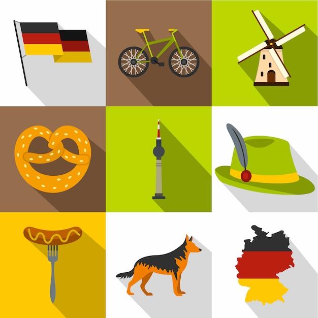 Set germania, stile piatto Vettore Premium