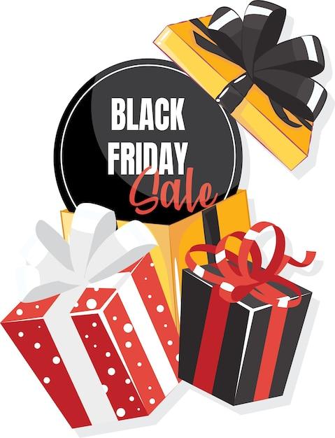Confezione regalo con grande fiocco. modello di vendita venerdì nero. Vettore Premium