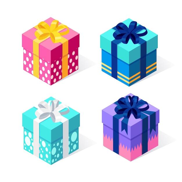 Confezione regalo con fiocco, nastro su sfondo bianco. pacchetto rosso isometrico, sorpresa. vendita, shopping. vacanze, natale, concetto di compleanno. Vettore Premium