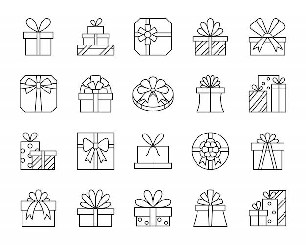 Scatole regalo, presente, set di icone di linea di pacchi, per compleanno, natale, vacanze design. Vettore Premium