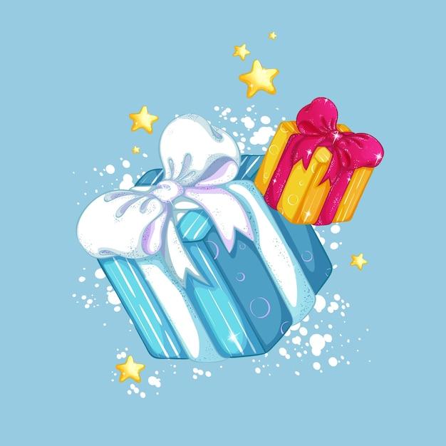 Scatole regalo con bellissimi fiocchi su uno sfondo di neve e stelle dorate. decorazioni natalizie. Vettore Premium