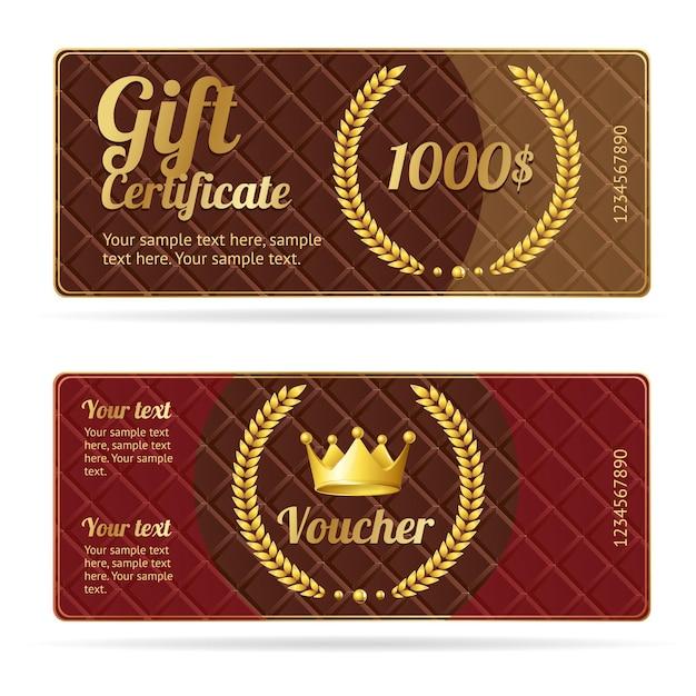 Buono regalo buono. modello di coupon con corona e corona. Vettore Premium