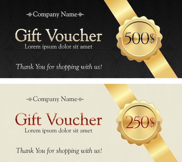 Buono regalo. nastro d'oro su uno sfondo elegante. distintivo con valore regalo. Vettore Premium