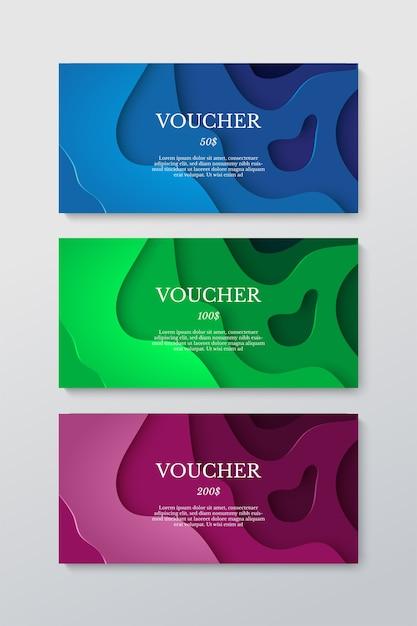 Buono regalo impostato realizzato da carta tagliata isolato su grigio Vettore Premium