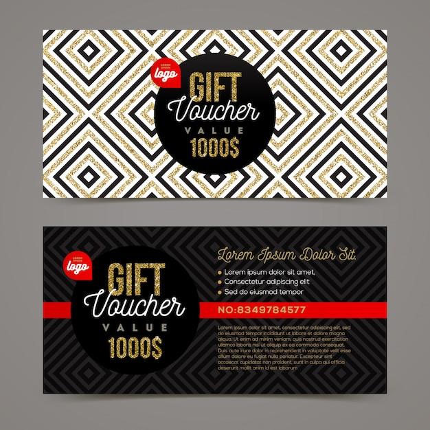 Modello del buono regalo con elementi glitter oro. illustrazione. Vettore Premium