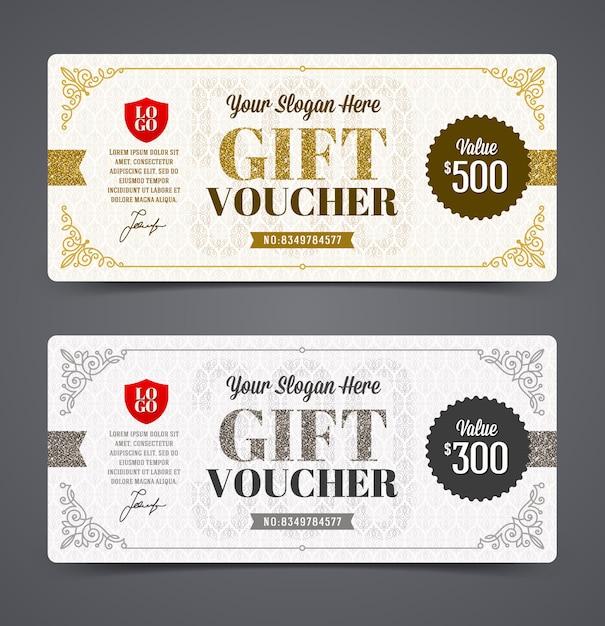 Modello del buono regalo con glitter oro e argento, illustrazione Vettore Premium