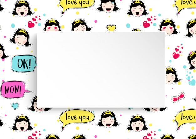 Sfondo ragazza con avatar anime emoji. simpatici adesivi con emoticon e carta 3d. sfondo ragazza infantile con facce asiatiche kawaii. Vettore Premium