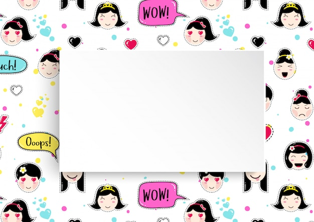 Sfondo ragazza con avatar anime emoji. Vettore Premium