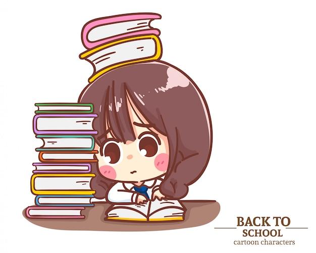 Ragazza studentessa uniforme concentrandosi sulla lettura di libri. torna a scuola logo illustrazione. vettore premium Vettore Premium
