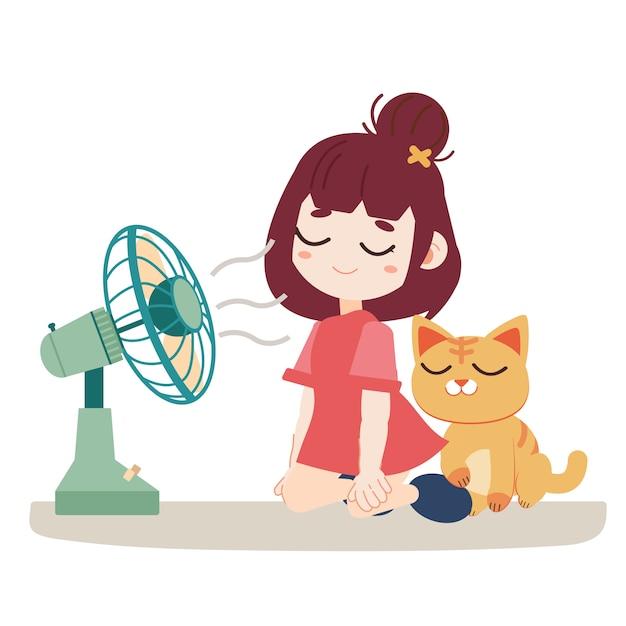 Una ragazza e un gatto carino si sentono caldi. loro usano un ventilatore Vettore Premium